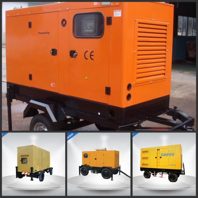 Brushless Quiet Running Mobile Generators Trailer Mounted Class H Insulation 300Kva