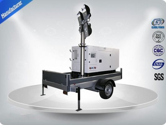 چین Single Phase Generator Mobile Light Tower Trailer With Manual Operated Mast توزیع کننده